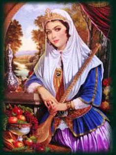 f Bard urban city Persian art Persian Beauties, Art Asiatique, Persian Culture, Iranian Art, Renoir, Woman Painting, Potrait Painting, Islamic Art, Art And Architecture