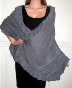 warm evening capes ruanas wraps for winter wear - lends a casual chic touch and transitions to an elegant evening cape wrap over an evening dress. http://www.yourselegantly.com/winter-shawls-ruana-wraps/ruana-cape-wraps/grey-ruana-cape-wrap-for-women.html