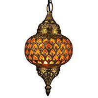 Orientalische Marokkanische Arabische Messing Deckenlampe Hängeleuchte Lampe Leuchte Adla - O 32cm