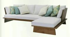 L-shaped teak sofa
