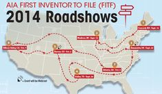 AIA First Inventor to File (FITF) 2014 Roadshows with U.S. map