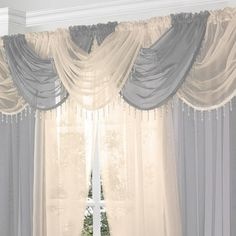Silver Voile Curtain Swag with Crystal Beaded Trim by Supplied by Maple Textiles Curtain Pelmet, Voile Curtains, Modern Curtains, Scarf Valance, Curtains For Arched Windows, Large Window Curtains, Metal Curtain Pole, Voile Panels, Living Room Windows