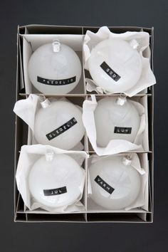 Another bauble-revamp idea! Spray paint them white, and use a letter punch to make word designs.