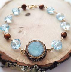 Aquamarine Druzy Quartz Swarovski Crystal by Bellebijouatelier, $80.00