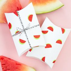 Office color coding labels are the secret to make adorable watermelon print gift boxes in a snap!