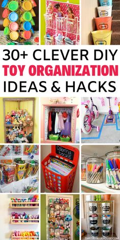 30 + Easy Clever Toy Organisation Ideen Take control of toy chaos with these clever toy organization ideas. With genius storage ideas, you're guaranteed to take control of toy chaos for good. Perfect for small or big spaces these are toy storage solut Kids Playroom Storage, Toy Room Organization, Organizing Kids Toys, Dollar Tree Organization, Storage Ideas For Kids, Organize Toy Rooms, Playroom Ideas, Girls Bedroom Organization, Board Game Organization