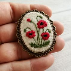 Browse unique items from DusiCrafts on Etsy, a global marketplace of handmade, vintage and creative goods. Basic Embroidery Stitches, Hand Embroidery Flowers, Flower Embroidery Designs, Silk Ribbon Embroidery, Embroidered Flowers, Cross Stitch Embroidery, Embroidery Patterns, Felt Crafts Patterns, Poppy Brooches