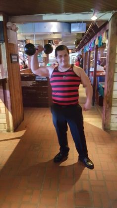 """Hommes Rouge /& Blanc M-Taille 38/"""" -40/"""" Deluxe Strongman Costume"""