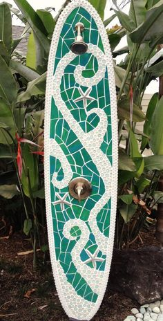 f8c2ac6c3a0c Items similar to Longboard outdoor surfboard shower with glass and starfish  design. Ready for use on Etsy