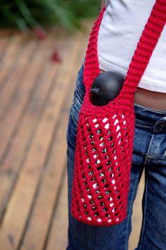 Free knitting pattern for Bishi water bottle holder - by Tikki