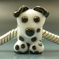 DALMATIAN Handmade Lampwork Glass BHB European Charm Big Hole Bead sra Gelly Puppy Dog. $30.00, via Etsy.