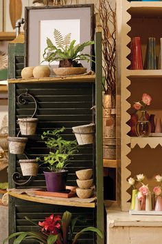 Add shelves to hinged shutters and some s hooks for hanging.