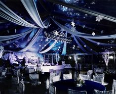Winter Wonderland tent with dance floor and stage