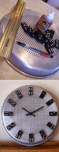 DIY Domino Clock You will need : stainless steel pan Glue Domino clock parts Cute Crafts, Diy And Crafts, Craft Gifts, Diy Gifts, Craft Tutorials, Craft Projects, Creation Deco, Diy Clock, Crafty Craft