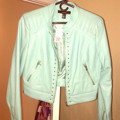 Turquoise faux leather jacket This is a brand new faux leather jacket I purchased at forever 21! It's a size large but runs a little bit on the smaller size. It still has the tags on it Forever 21 Jackets & Coats Utility Jackets