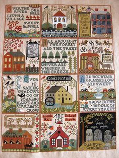The Village of Hawk Run Hollow - Carriage House Samplings (Wakana B''s) - inspiration to finish mine! Cross Stitch House, Just Cross Stitch, Cross Stitch Samplers, Cross Stitch Charts, Cross Stitch Designs, Cross Stitching, Cross Stitch Patterns, Embroidery Sampler, Cross Stitch Embroidery