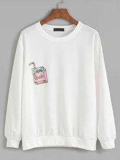 Shop White Drawing Print Sweatshirt online. SheIn offers White Drawing Print…