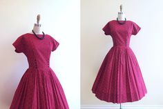 1950s Dress  Vintage 50s Dress  Red Black Cotton.... if only style was still like this, cute.
