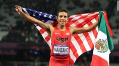 Leo Manzano waved the flag of the U.S. and Mexico after winning second place in the 1500-meters final.