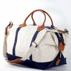 Navy Heavy Weight Cotton Canvas Travel Bag With Sunshine Satchel Stylish