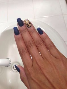 Matte royal blue nails gel top coat with gold flakes. | Yelp