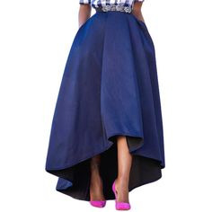 Navy Blue Asymmetric High-Low Hem Maxi Prom Skirt (€28) ❤ liked on Polyvore featuring skirts, evening maxi skirt, flared skirt, navy maxi skirts, maxi skater skirt and long flared skirt
