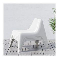 IKEA - IKEA PS VÅGÖ, Fauteuil, extérieur, blanc,  , , Fauteuil en plastique traité pour résister à la décoloration et aux UV afin d