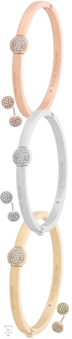 Michael Kors Brilliance Crystal Bangle Bracelet & Stud Earrings Gift Set   LOLO❤︎