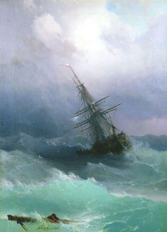 """My life has been like a ship at sea with calm waters and stormy weather. *Painting - """"Stormy Sea"""" by Ivan Aivazovsky Stormy Sea, Stormy Waters, Calm Waters, Fine Art, Tall Ships, Oeuvre D'art, Sailing Ships, Amazing Art, Art Photography"""