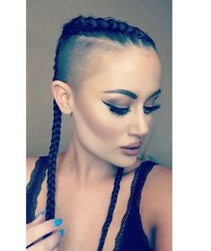 Image may contain: 1 person, closeup Shaved Nape, Shaved Sides, Shaved Head, Trendy Hairstyles, Girl Hairstyles, Braided Hairstyles, Hair Dye Colors, Hair Color, Undercut Mohawk