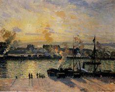 """Camille Pissarro (1830-1903) ~ """"Rouen, Coucher de Soleil sur le Port, Bateaux à Vapeur"""", 1898 ~ Huile sur Toile"""
