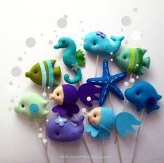 Under the Sea Friends Custom Party Favor, Cupcake Topper, Party Decor, Nautical Theme, Ocean, Beach Party, Wedding, Birthday, Baby Shower