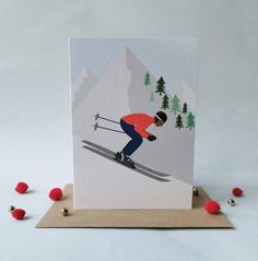 Personalised Snowboarding Winter Sport Birthday Card with Illustrated insert