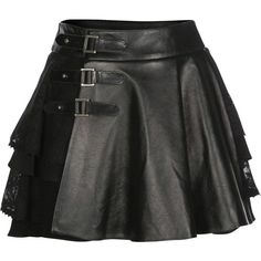 Mairi McDonald - Cherie Lace & Leather Kilt (990 CAD) ❤ liked on Polyvore featuring skirts, real leather skirt, lacy skirt, lace skirt, knee length lace skirt and leather panel skirt