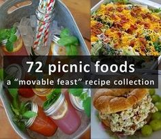 "72 picnic foods ~ a ""movable feast"" recipe collection - DIY CHICKS Beach Picnic Foods, Picnic Snacks, Picnic Dinner, Beach Meals, Summer Picnic, Picnic Recipes, Picnic Ideas, Picnic Time, Beach Foods"