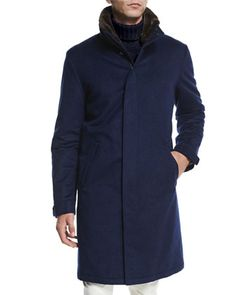 Icer Cashmere Coat with Fur-Trimmed Collar, Blue by Loro Piana at Neiman Marcus.