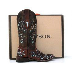 Stetson Cowgirl Boots Womens Mad Dog Goat w/ Lt Blue Inlay 12-021-8801-0619