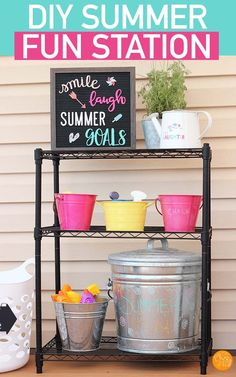 Make a DIY Summer Fun Station for your backyard! Organize outdoor toys with this simple summer fun station. Perfect for backyard parties and summer playdates! A simple solution to organizing kids toys outside. #summer #organized #organization #organizedhome Backyard Toys, Backyard For Kids, Backyard Parties, Backyard Projects, Backyard Ideas, Outdoor Toys For Kids, Diy Outdoor Toys, Outdoor Crafts, Outdoor Play