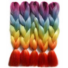 "Chorliss 24""Jumbo  Synthetic Crochet Hair Extension Ombre Braiding Hair Straight Crochet Braids Rainbow Color 100g/pack"