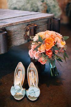 #orange, #peach, #aqua Photography: Jen Rodriguez - www.jen-rodriguez.com Read More: http://www.stylemepretty.com/2015/04/24/rustic-fall-wedding-holland-ranch/