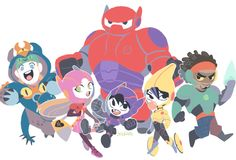 Disney, Marvel, Big Hero 6.-Fred, Honey Lemon, Baymax, Hiro, GoGo Tomago, Wasabi.