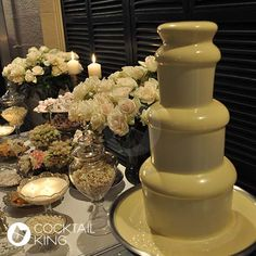 White Chocolate Fountain  So Fun for a Fancy Sweet Table at a Wedding or Bridal Shower!!