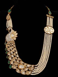 Statement peacock pearl necklace. Bridal fashion.