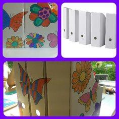Koop bij Ikea 5 van deze 'ordner dozen' (€1,29) en laat ze versieren door de kinderen. Leuk cadeautje bij het afscheid van een stsgiaire!