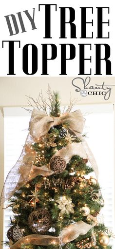 Burlap Christmas Tree Decorations is one inseparable portion of the Christmas holidays, without which Christmas would lose all of its color, spirit, w. Diy Christmas Tree Topper, Diy Tree Topper, Christmas Tree Themes, Noel Christmas, Merry Little Christmas, Rustic Christmas, Winter Christmas, Xmas Tree, Christmas Crafts
