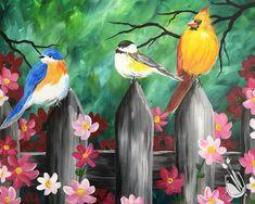 *New Art* Springtime Wonder Bird Paintings On Canvas, Easy Paintings, Canvas Art, Bird Pictures, Pictures To Paint, Colorful Drawings, Art Drawings, Summer Painting, Bird Art