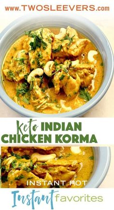 instant pot Indian Chicken Korma. Simple way to make an authentic, creamy korma. This recipe can be adapted for beef, lamb, or vegetables.  twosleevers.com