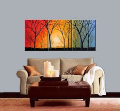 Extra Large Wall Art Triptych Landscape Original by AmyGiacomelli