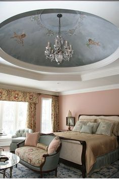 Blue Design French Chic Ceiling Peach Iris Shabby