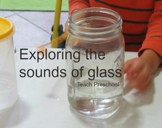 As part of our study on glass, we spent time exploring the sounds of glass in preschool!